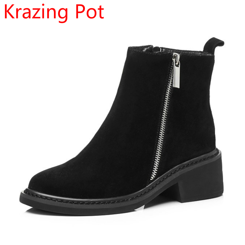 New Arrival Round Toe Zipper Thick Heels Fashion Winter Shoes Runway Superstar Chelsea Boots Warm Elegant Nude Ankle Boots L98 fringe wedges thick heels bow knot casual shoes new arrival round toe fashion high heels boots 20170119