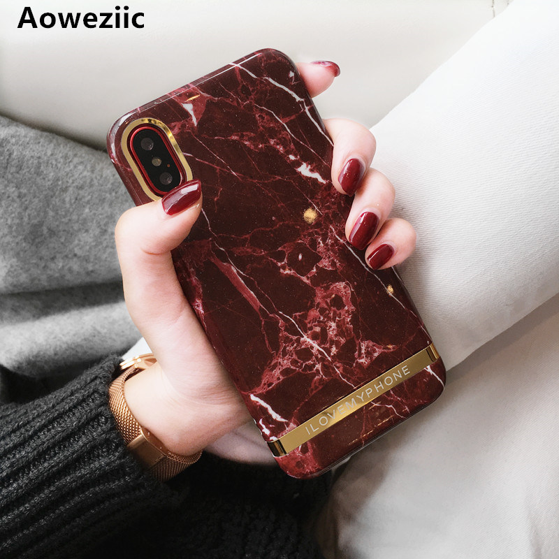 Aoweziic High end simple burgundy marble phone case For
