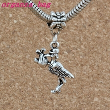 Hot ! 100pcs Tibetan Silver Stork New Baby Pregnant Expecting European Dangle Beads fit Charm Bracelet 38x21mm 4582L