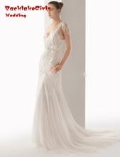 Don's Bridal 2017 Sheath Cap Sleeves Tulle V-neck Court Train Crystal Luxury Vestidos De Novia Wedding Dress Gown Custom Made
