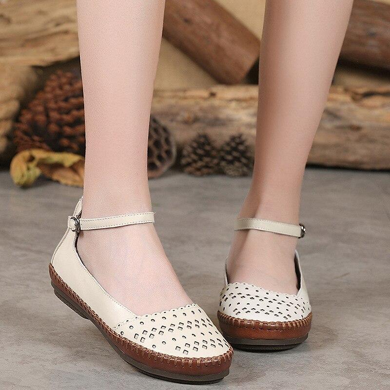 2018 new spring women's shoes handmade hollow flat comfortable bottom walking shoes B1G1-B1G7