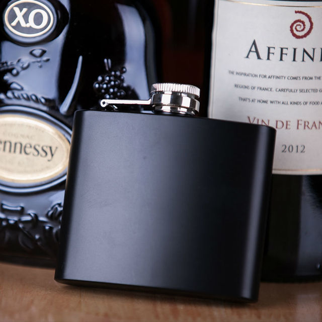 Mealivos Portable Inferior smooth black 6 oz Food Grade Stainless Steel Hip Flask drinkware Liquor Whiskey alcohol Bottle gifts