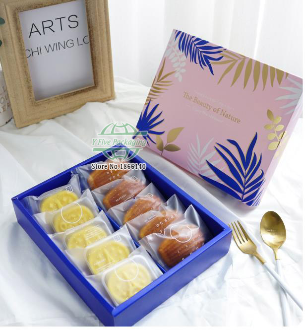 Pink green blocking color leaf pattern 6 Mooncake box , sugar candy biscuit paper box,snacks Packaging gift Boxes 100pcs/lot