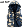 ZOOB MILEY Men's Camouflage Vest Winter 2016 Fashion New Style Hooded Waistcoats Warm Outwear Causal Sleeveless Jacket M-XXXL