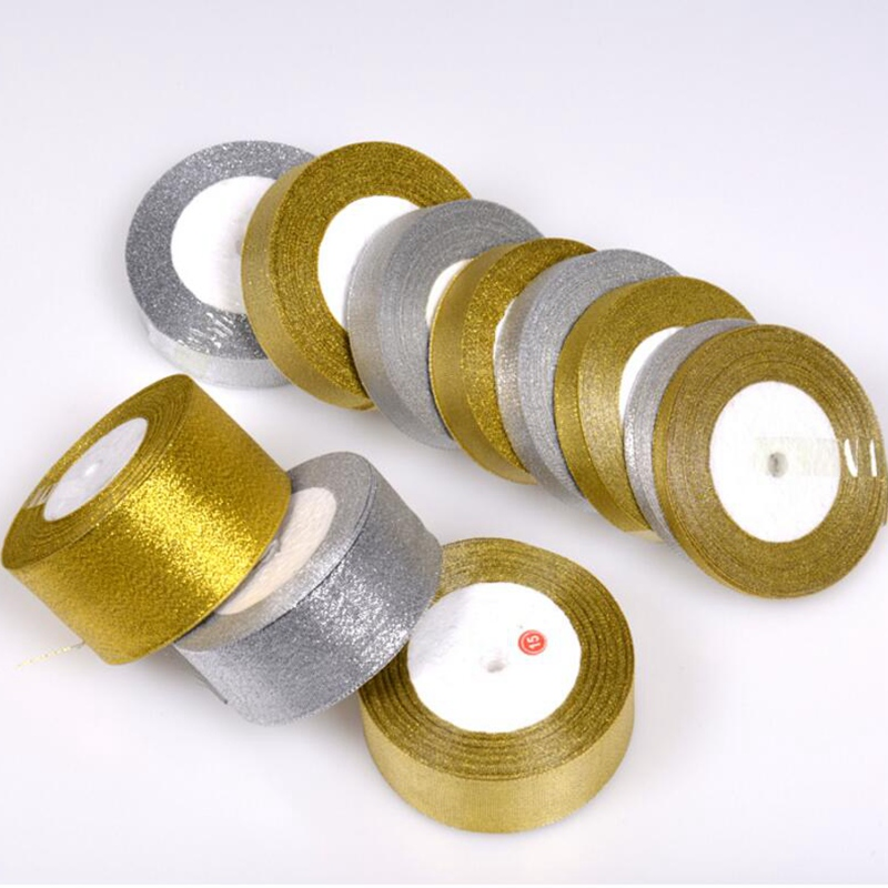 Handmade Gold and Silver Ribbon 25 Yard 22M Metallic Luster Wedding Christmas Decoration DIY Webbing Card Gift Wrapping