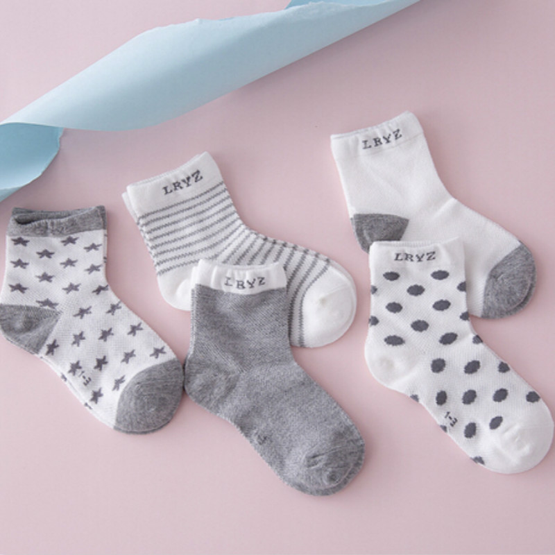 10 Pieces/lot=5Pairs Cotton New Born Baby Socks Short Socks Girls And Boys Striped Polka Dots Baby Socks Anti Slip Summer Socks