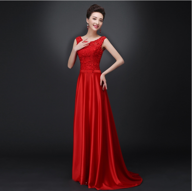 New Long Evening Dresses Glamorous Lace Satin Red White Bride Gown Ball Prom Party Homecoming/Graduation Formal Dress