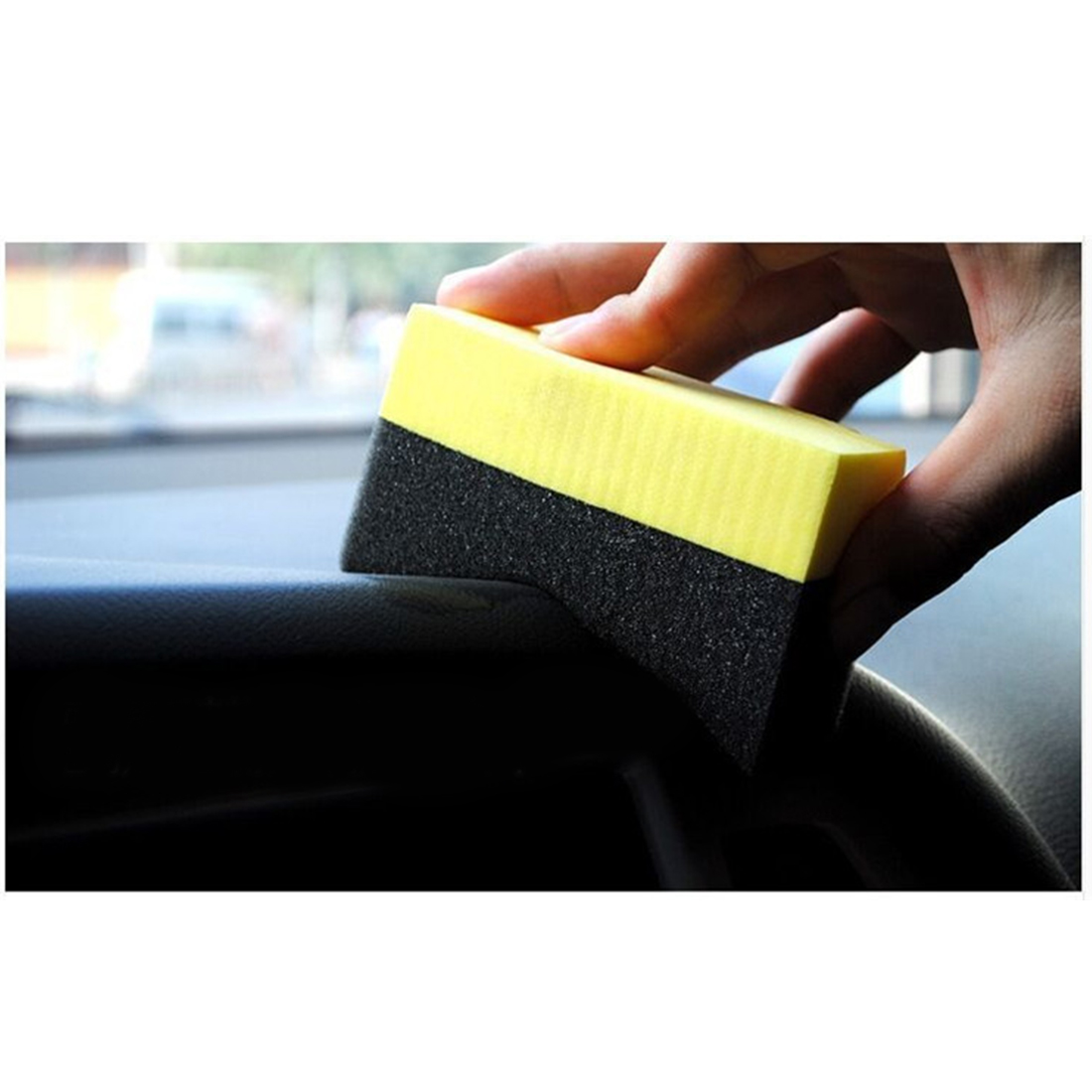 2pcs Tyre Brush Car Cleaning Sponge Vacuum Compressed Sponge Auto Tire Wax Polishing Compound Sponge ARC Edge Sponge New Arrival