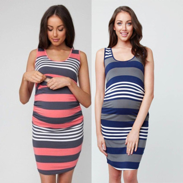 7a86e4357cce0 New Maternity Dress Pregnant Women Summer Sleeveless Striped Dresses  Breastfeeding Nursing Pregnancy Women clothes