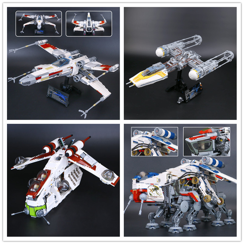 LEPIN 05039 Red Five X fighter wing 05041 Republic Gunship 05053 Republic Dropship 05143 Y-wing fighter Building Block hot wheels модель звездного корабля y wing fighter gold leader cgw52 cgw53