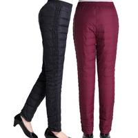 Woman Autumn Plus Size Solid Elastic Waist High Full Length Straight Thick 95 Down Pants Female
