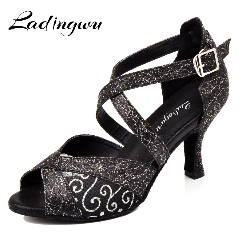 Ladingwu Glitter And Lace Latin Dance Shoes Women Salsa Golden Black Shoes For Ballroom Dancing Ladies Tango Dance Sandals 7.5cm