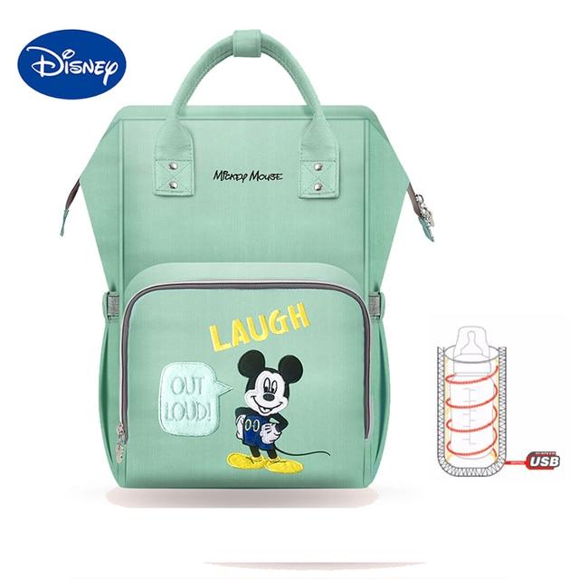 Disney 2018 nuevo estilo impermeable bolsas de pañales de gran capacidad USB Oxford paño de maternidad bolsa de pañales de leche para bebé bolsas de aislamiento