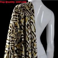 136*100cm1pc Top Brocade Fabric Real 100%Silk Fabric Fashion Leopard Damask Printed Fabric For Diy Sewing Wedding Dress Clothing