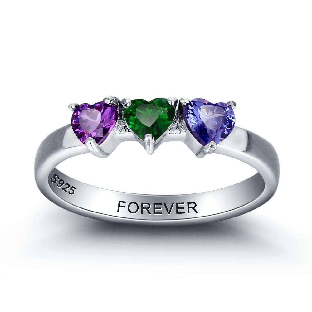 Personalized Gift 925 Sterling Sliver Birthstone Heart Rings Custom Family Friend Engraved Jewelry Wife Mother Mom Love Rings promise rings engagement rings personalized jewelry 925 sterling sliver heart birthstone rings custom gift for women