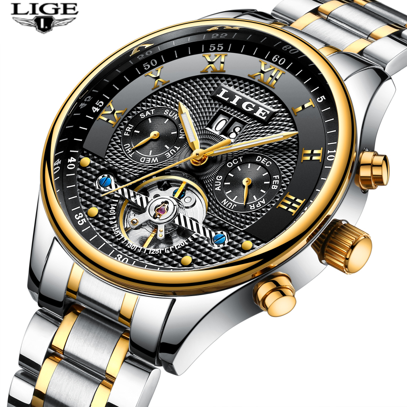Top Brand Luxury New LIGE Mens Watches  Men Fashion Business Automatic Watch Man Full Steel Waterproof Clock relogio masculino lige gold watch men new mens watches top brand luxury business clock man full steel fashion sport quartz watch relogio masculino