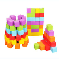 Hot Gifts 100pcs Colorful Wooden Stacking Up Cube Building Wooden Block Baby Geometric Shape Educational Toys Square Cubes