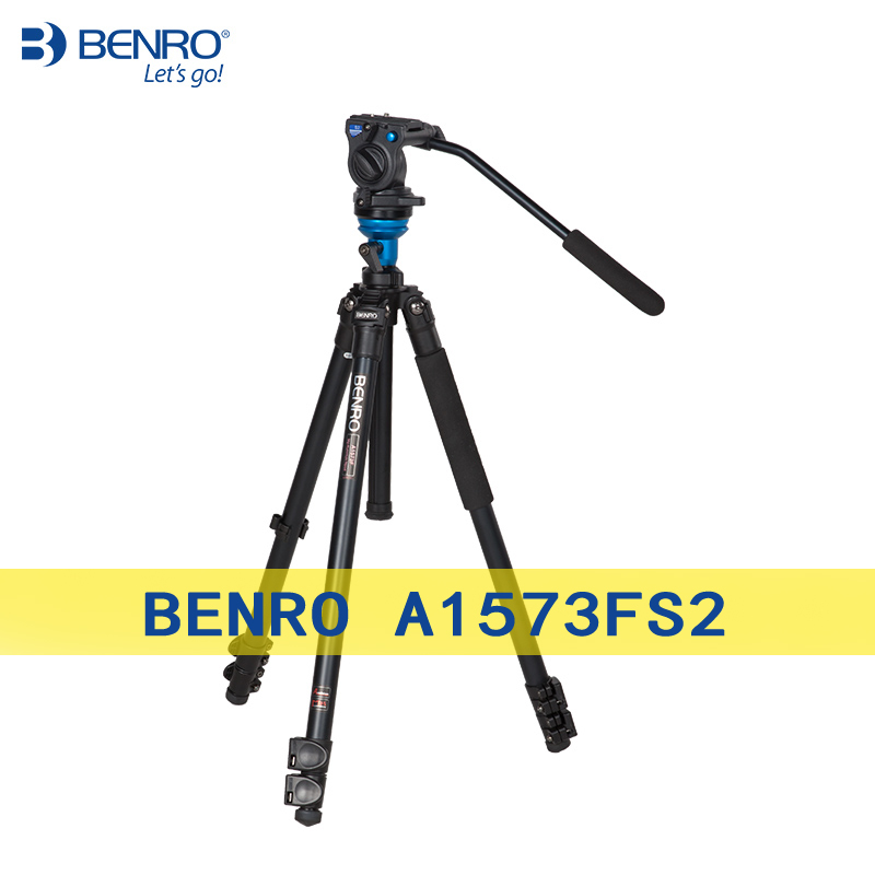 Benro A1573FS2 Tripod Professional Aluminum Tripod For Video Camera 3D Fluid Head Videotape Dual-use Free Shipping benro a38td foot aluminum alloy slr camera videotape alone racks one horned portable triangle frame free shipping