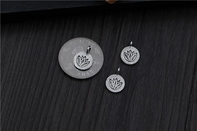 BUYEE 925 silver Jewelry Findings & Components Lotus Flower Disc Charms DIY Bead for Bracelet Jewelry Necklace Findings Accessor