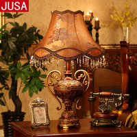 European Retro Trophy Resin Table Lamp for Bedroom Living Room Antique Creative Fashion Furnishings Remote Control Table Lamp