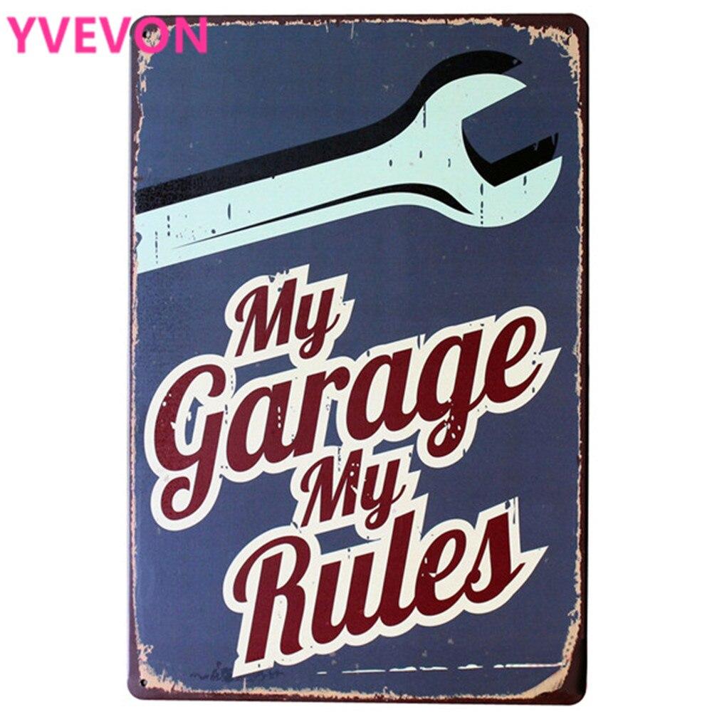 Minha Garagem Minhas Regras Carro Ferro Tin Placa Sinal do Metal Decoração Do Vintage Mecânico Placa Retângulo Poster Modern Home Retro 20x30 cm