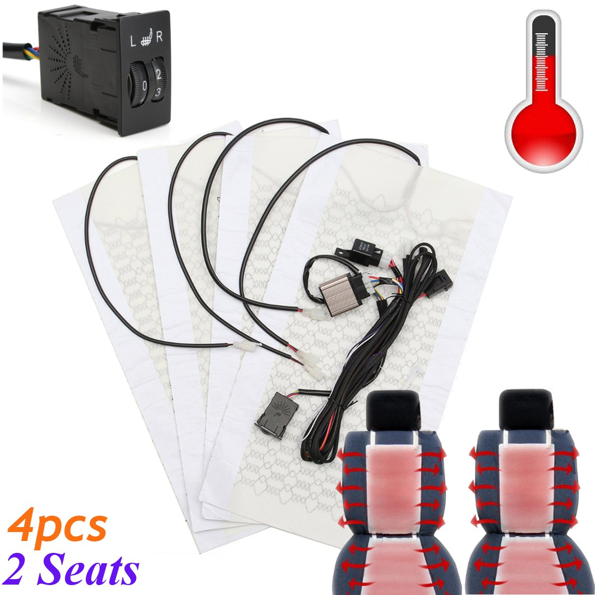 2 Seats 4 Pads Universal Carbon Fiber Heated Seat Heater 12V Pads 2 Dial 5 Level
