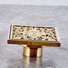 Роскошные золотые Цвет латунь резные картины цветка Ванная комната утечка Душ 4 «квадрат трапных отходов Тёрки ahr027