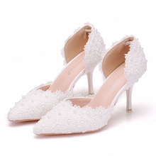 White Flower Wedding Shoes Lace Pearl High Heels Sweet Bride Dress Shoes Beading Sandals Thin Heel Shoes Women Pumps XY-B0241 white lace flower flat heel wedding flats shoes woman bride bridal handmade plus size 41 42 43 beading pearls party shoe hs312