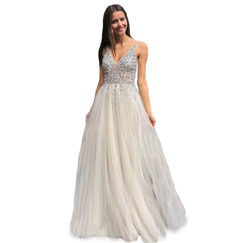white Long v neck Party Evening Dresses 2019 Sexy prom dress Women Sweetheart Net yarn Slim Prom Dress sequins party gown in Evening Dresses from Weddings Events
