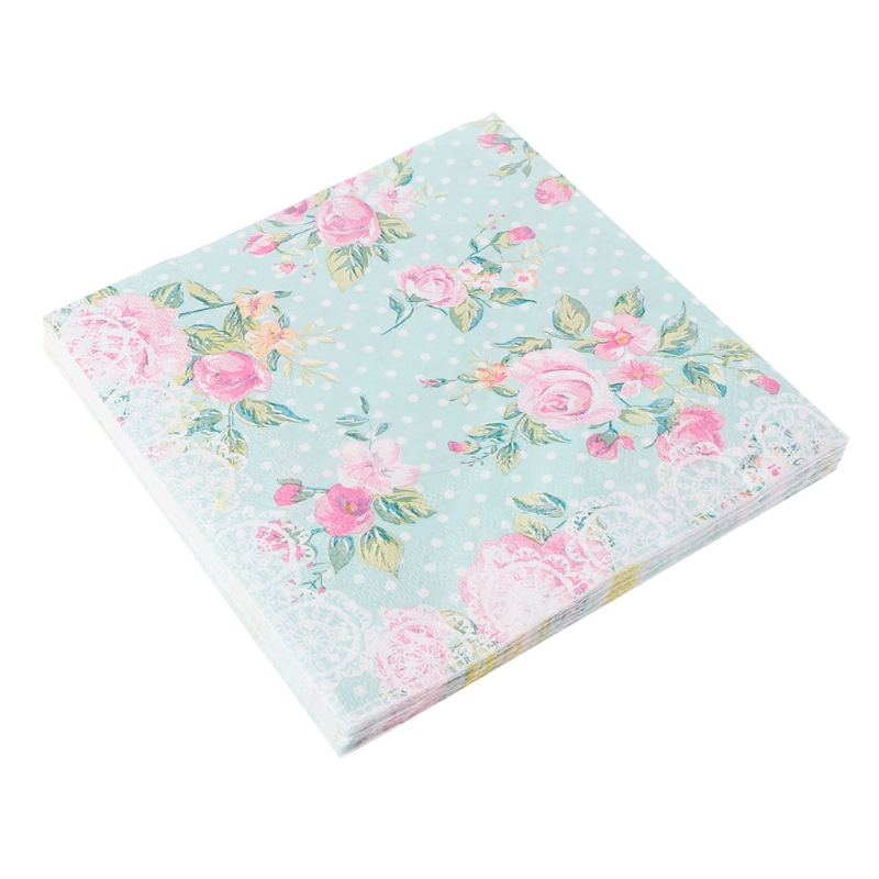 20pcs Pink Green Rose Printed Facial Tissue Table Paper Napkins Decoupage Vintage Wedding Birthday Party Decoration