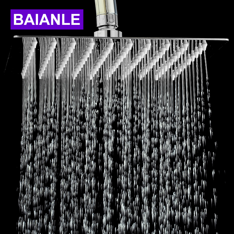 Free Shipping Stainless Steel Square Power Shower Head Bathroom Shower Faucet Head Rain Ultrathin Shower Head rain siemer soovin sulle head