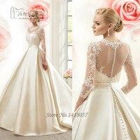 2016 Ivory Vintage Wedding Dress Long Sleeve Lace Bridal Dresses Satin Buttons See Through Back Abiti Da Sposa Vestido de Noiva