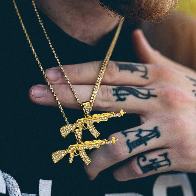 Karopel Golden Scar Gun Pistol Pendant Stainless Steel Iced Out Bling CZ Crystal Men's Hip hop Pendant Necklace Cuban Chain