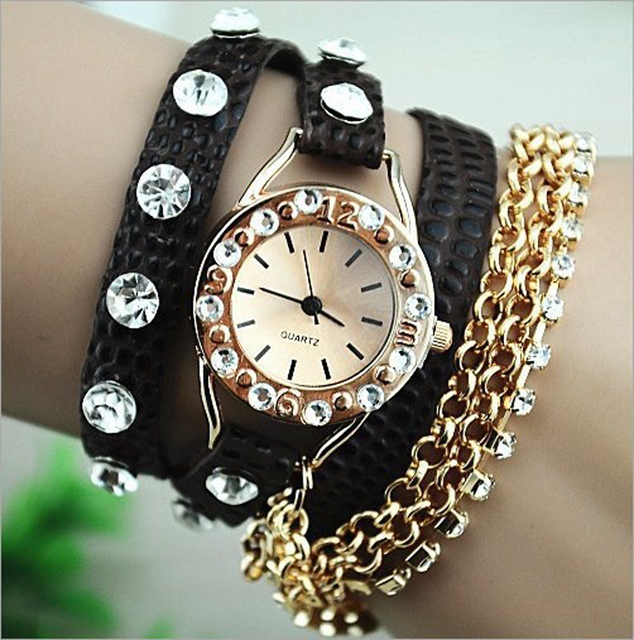 2014 Free Shipping Fashion Latest Popular Hawaiian Style Sparkling Rhinestone Long Leather Sling Chain Quartz Watch Women