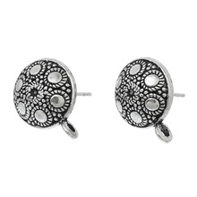 Doreen Box Ear Post Stud Earrings s Round Antique Silver Dot Pattern W/ Loop 16mm x 13mm,20 PCs(China)