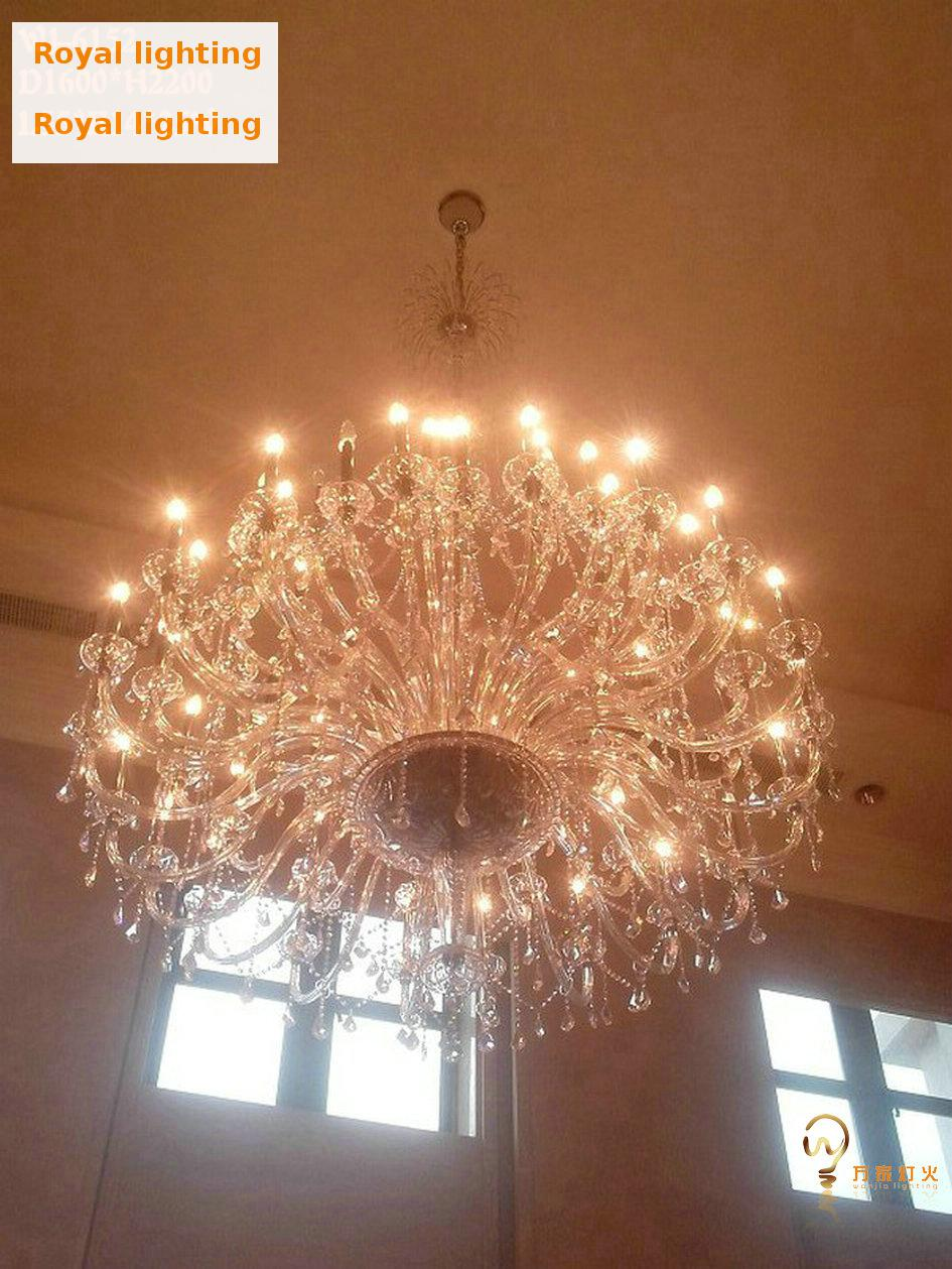 Modern large clear church chandeliers 55 72 lights hanging crystal modern large clear church chandeliers 55 72 lights hanging crystal chandelier light hotel palace e14e12 led lustre life sconce in chandeliers from lights aloadofball Images