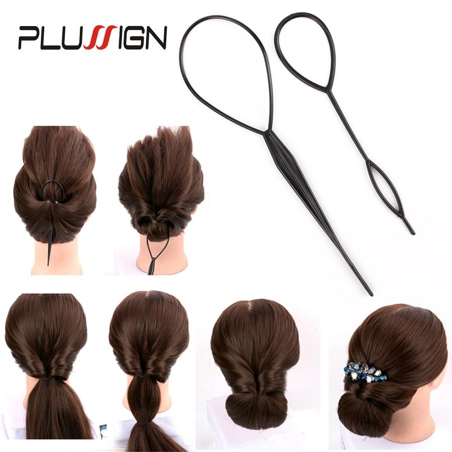 4Pcs Plastic Hair Loop Styling Hair Braiding Tools New Magic Topsy Tail Ponytail Hair Bun Maker Clip For Women Girls Hairstyles 4