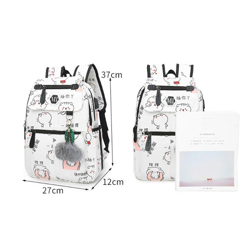 3 Pcs/Set Women USB Charging Canvas Printing School Backpacks Schoolbag For Teenagers Student Bookbag Rucksack