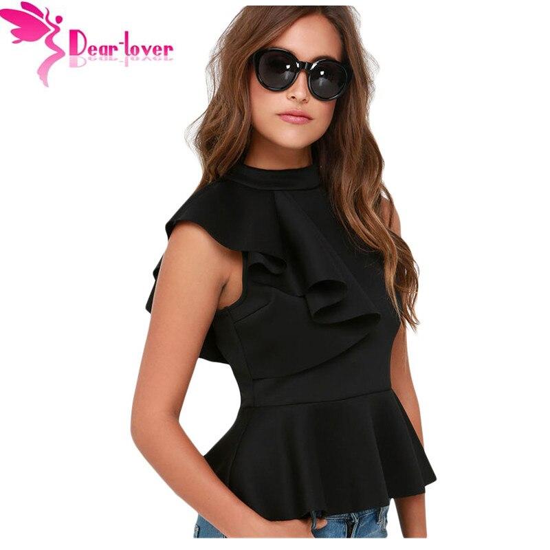 Dear Lover Office Ladies Summer Fashion Clubwear Asymmetric Ruffle Side Peplum Tops Women Sleeveless Tanks Vest Blusas LC25845