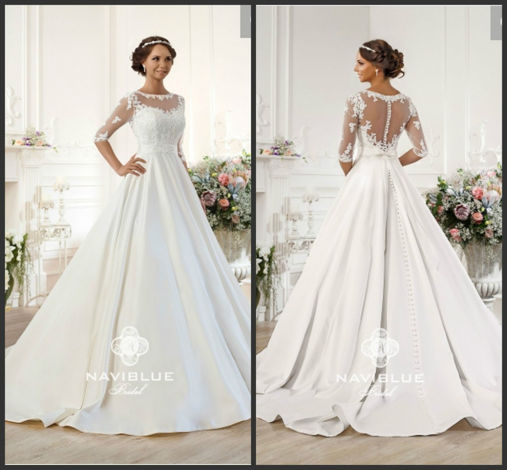 Stunning Ball Gown Lace Half Sleeve White Bride Wedding Dress In ...
