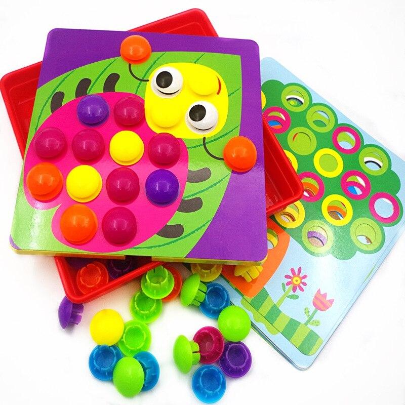 2017 3D Puzzles jouets pour enfants Composite image Puzzle créatif mosaïque champignon ongle Kit bouton Art enfants jouet