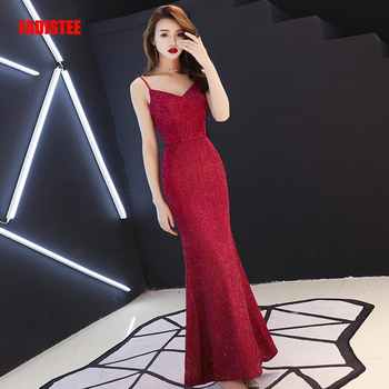 FADISTEE Vestido De Festa Sweet Burgundy Lace V-neck Long Evening Dress Bride Party Sexy Backless belt mermaid Prom Dresses - DISCOUNT ITEM  10% OFF All Category