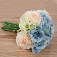 Bridal bouquet Simulation Butterfly Orchid Flower Bouquet Artificial Rose Silk Flowers Fake Leaf Wedding Home Party Decoration
