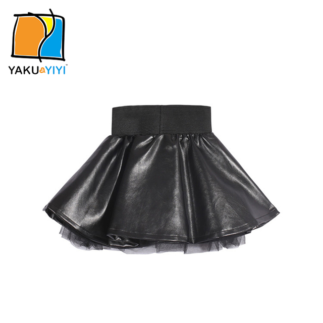 YKYY YAKUYIYI Girls Black Skirt Lined PU Leather Baby Girls Skirt Sweet Pleated Elastic Waist Children Mini Skirt Girls Clothing