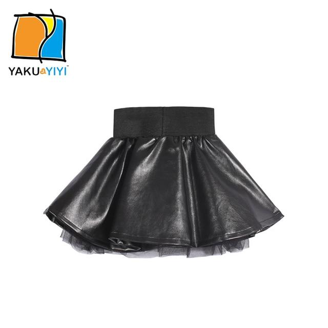 YKYY YAKUYIYI Girls Black Skirt Lined PU Leather Baby Girls Skirt Sweet Pleated Elastic Waist Children Mini Skirt Girls Clothing