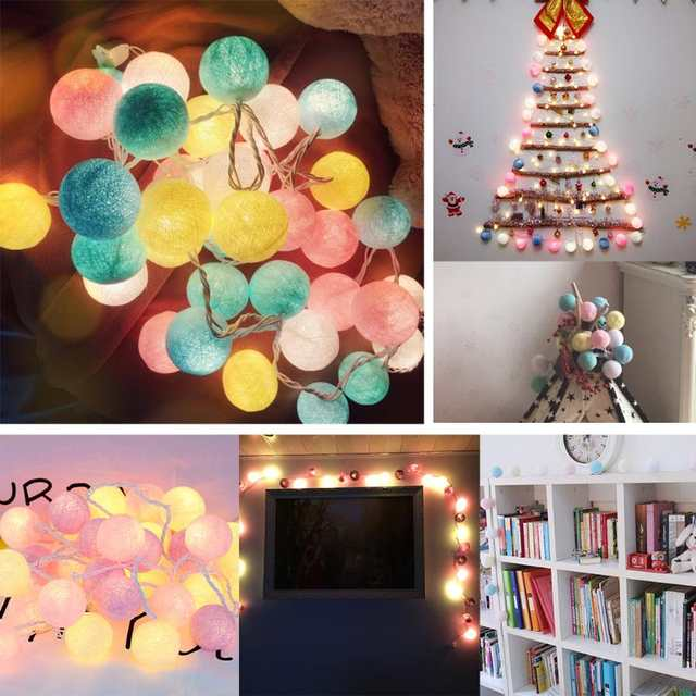 Us 7 8 19 Off Led 20 Colored Cotton Ball String Lights Garland Chain Rainbow Christmas Tree Light Wedding Party Lighting Battery In Lighting