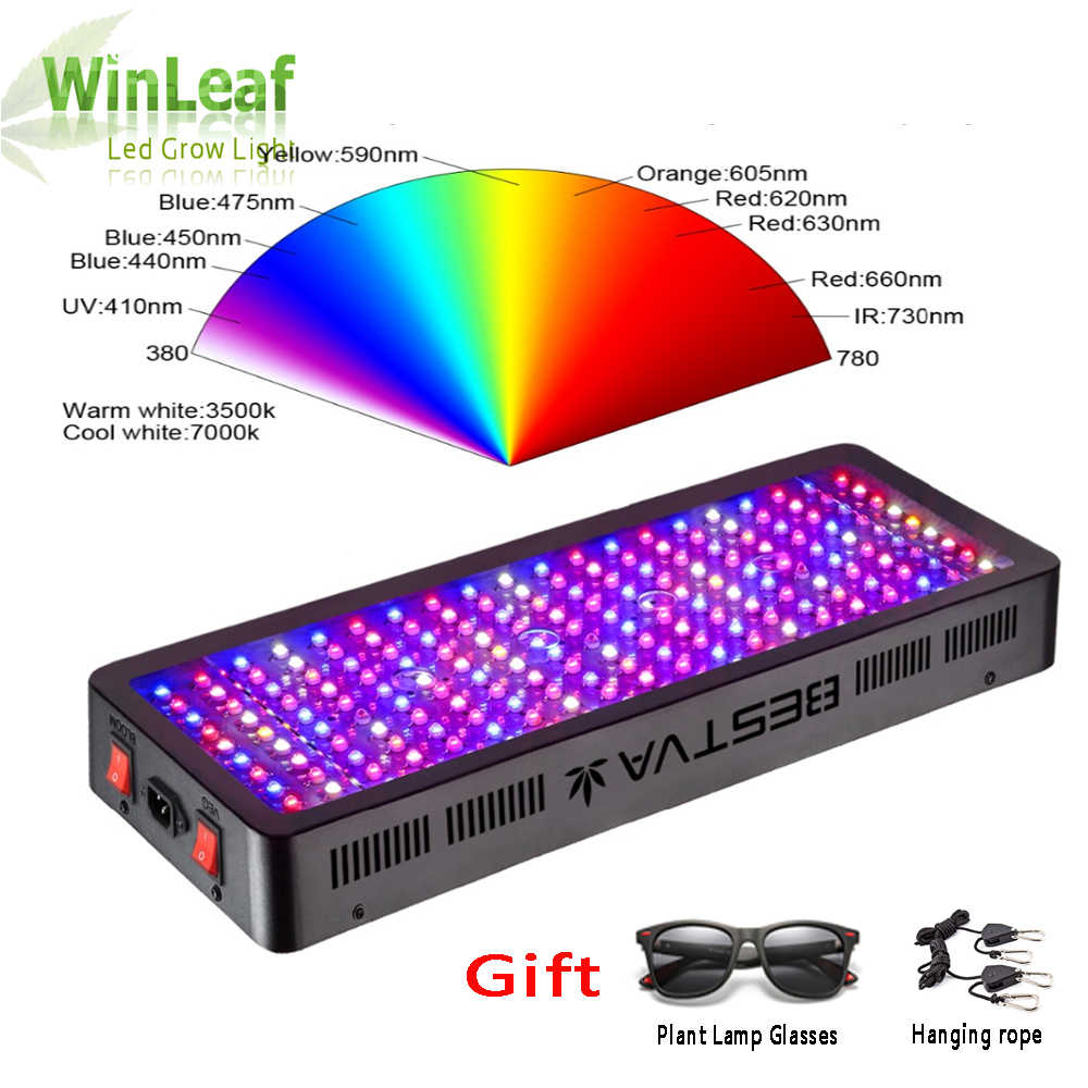 LED Grow Light Spektrum Penuh 300W 600W 800W 1000W 1200W 1500W 1800W 2000W Double Chip Merah/Biru/UV/IR untuk Tanaman Indoor Sayuran Mekar