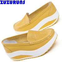 Genuine Leather Platform Shoes Slimming Swing Casual Shoes Women
