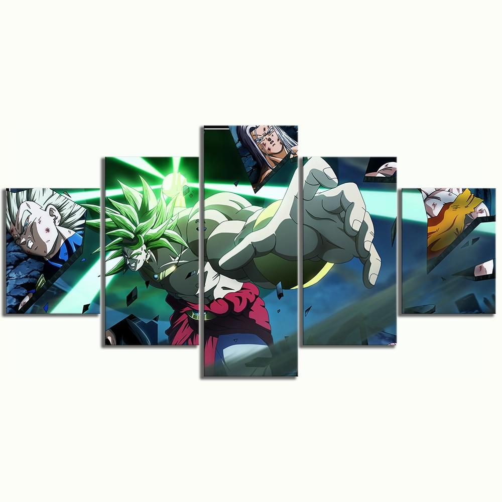 5 Piece Animation Art Super Saiyan Broli Dragon Ball Poster Canvas Art Wall Paintings for Home Decor 3