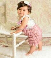 العاج المتربة روز طفلة فساتين خمر الوليد الطفل الرباط بيتي ثوب الزي الرضع طفلة ملابس عيد